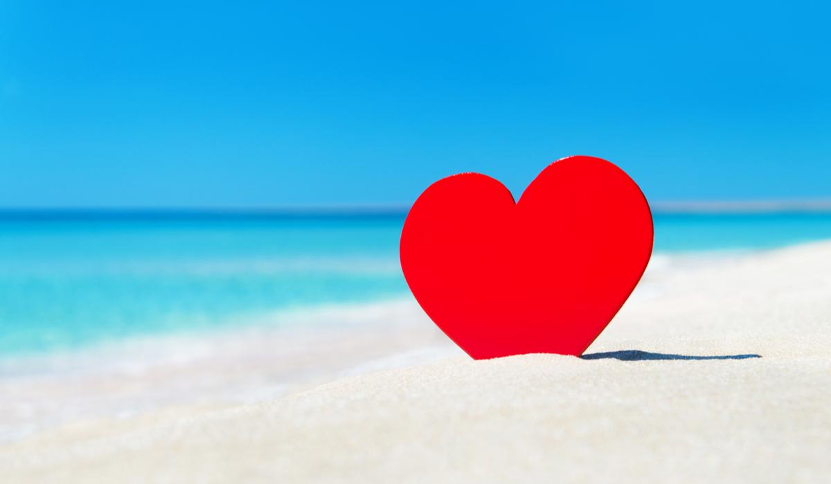 Valentine on beach