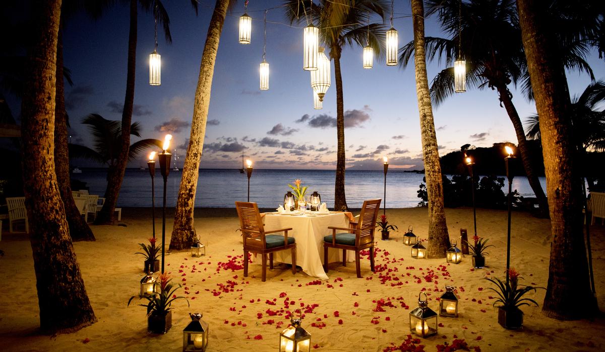Romantic setup on beach