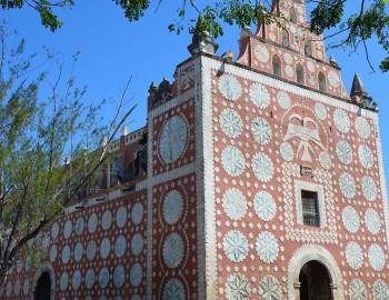 view of building in mexico with beautiful mosaic tiles