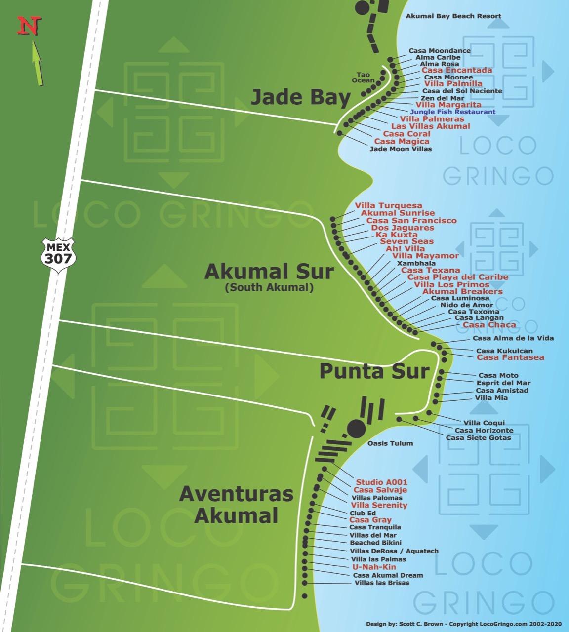Jade Beach, South Akumal, Aventuras Akumal Map