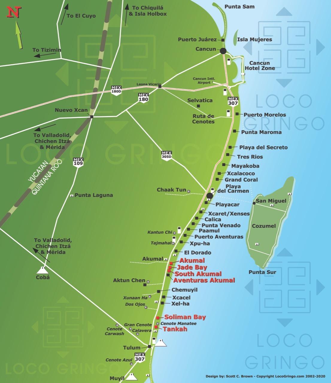 Map of Mexicos Caribbean Coast