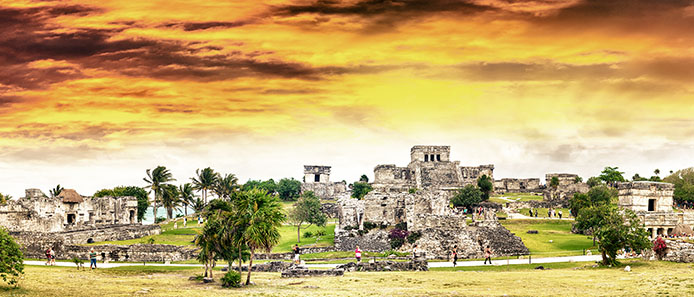 Tulum Ruins at Sunset